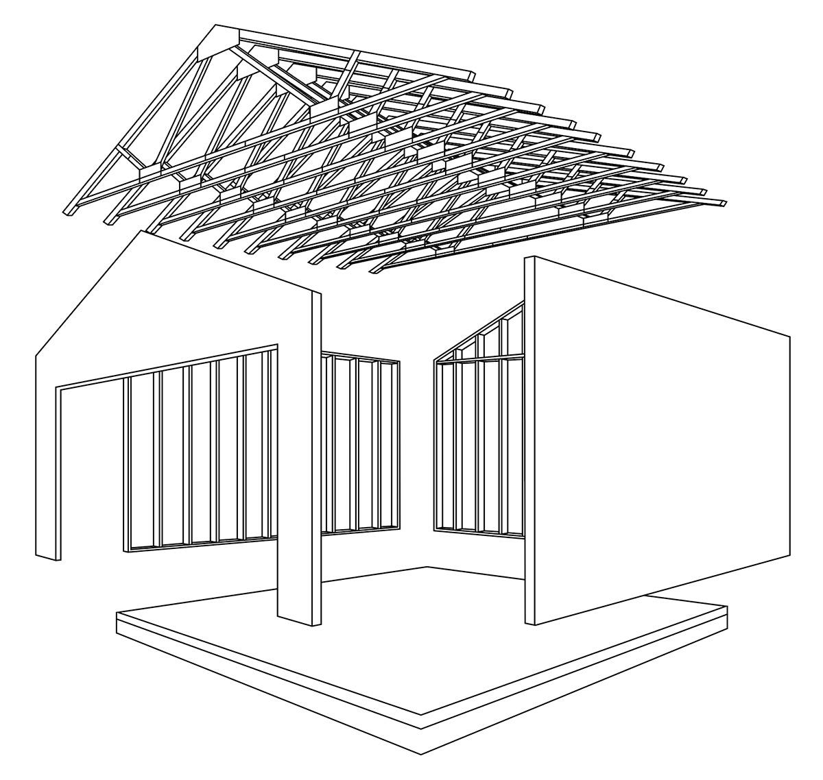 構造版と枠組み材を一体化させた僕像枠組壁構法(2×4工法)