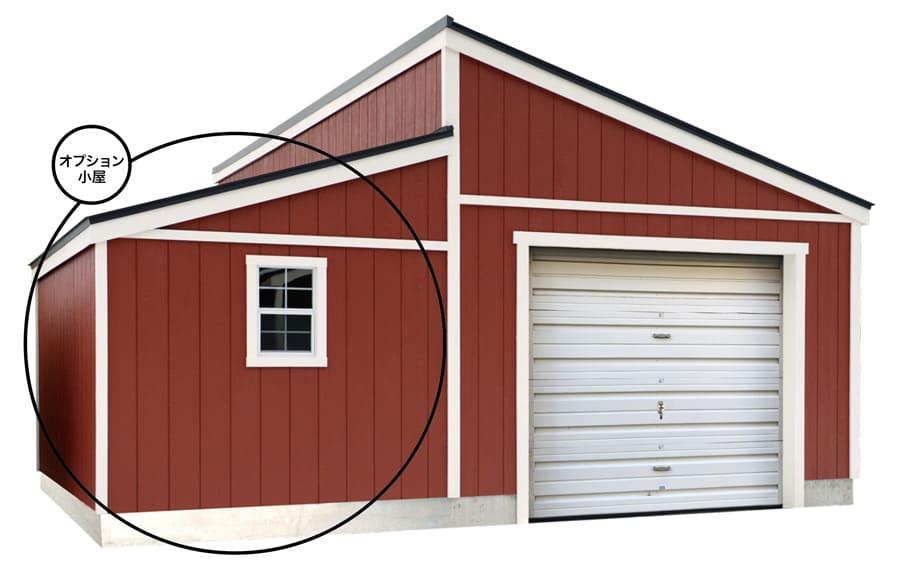 ピットガレージ12▶︎オプション小屋を追加すれば便利さ倍のガレージになる。
